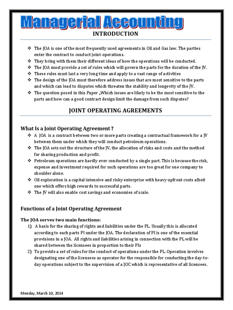 Chapter 1 Joint Operation Agreement Guarantee Asset Forfeiture