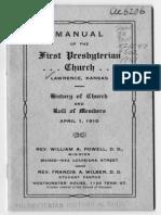 Manual of the First Presbyterian Church, Lawrence, Kansas
