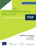 Entrepreneurship Policies 10 Policy Recommendations ENSPIRE EU- Berntsson 2012 8 Pag.