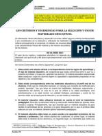 Los Criterios Para La Seleccion y Uso de Materiales Educativos