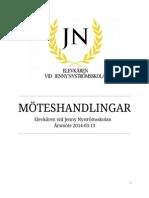 Årsmöteshandlingar Elevkåren vid Jenny Nyströmsskolan 2014
