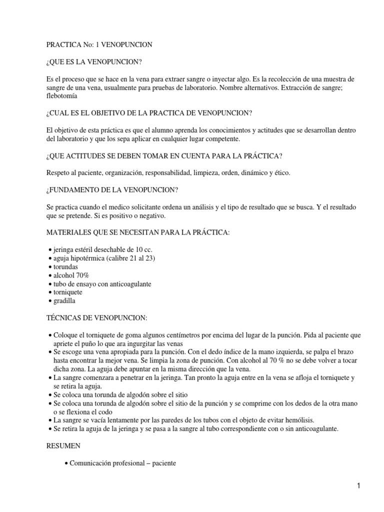Dorable Prueba De Certificación Práctica Flebotomía Fotos ...