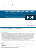 IT Outsourcing in Capital Markets - Service Provider Profile Compendium 2013