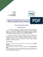 Vª Jornada de discusión de avances de investigación en Historia Argentina - PRIMERA CIRCULAR