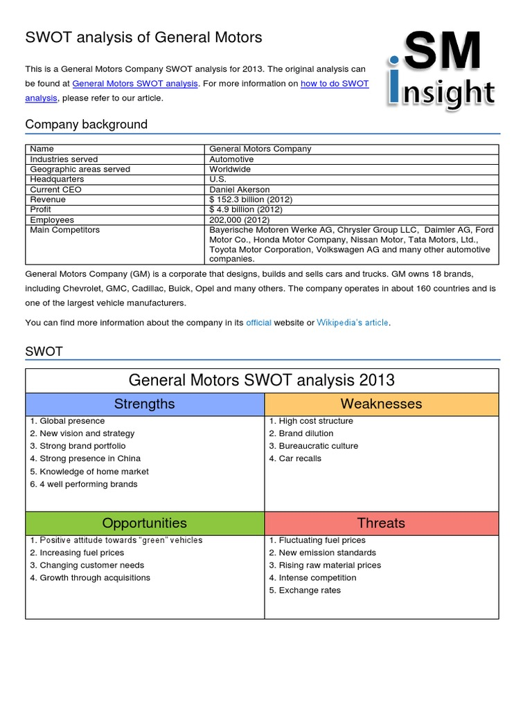 general motors swot analysis general motors hybrid vehicle