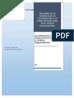 Resumen de La Herencia de La Colonizacion y La Crisis Estructural en El Subsahariana