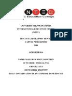 Lab Report 3-Investigating Plant Mineral Deficiencies
