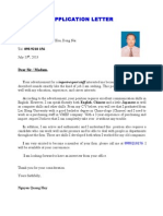 Nguyen Quang Huy -Application Letter & Cv