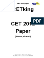 Cetking Maharashtra MHCET 2012 MBA CET Actual Paper PDF Quant and Data Interpretation Section