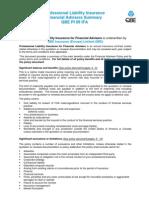 Professional Liability Insurance Financial Advisers Summary QBE PI 09 IFA