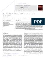 Evaluation of the Kinect™ sensor for 3-D kinematic measurement in the workplace