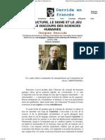 Derrida en Castellano - La Structure, Le Signe Et Le Jeu Dans Le Discours Des Sciences Humaines