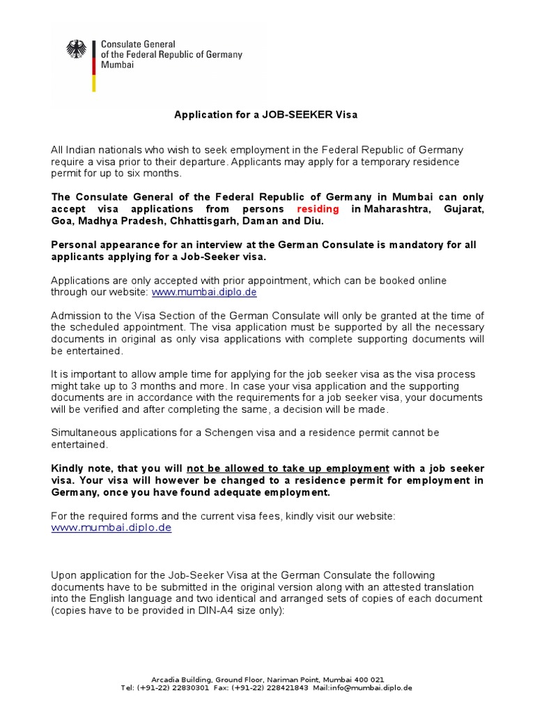 Job Seeker Germany Travel Visa Government