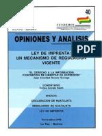 40 Ley de Imprenta Un Mecanismo de Regulacion Vigente