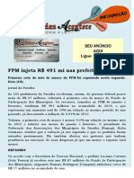 FPM Injeta R$ 491 Mi Nas Prefeituras Da PB
