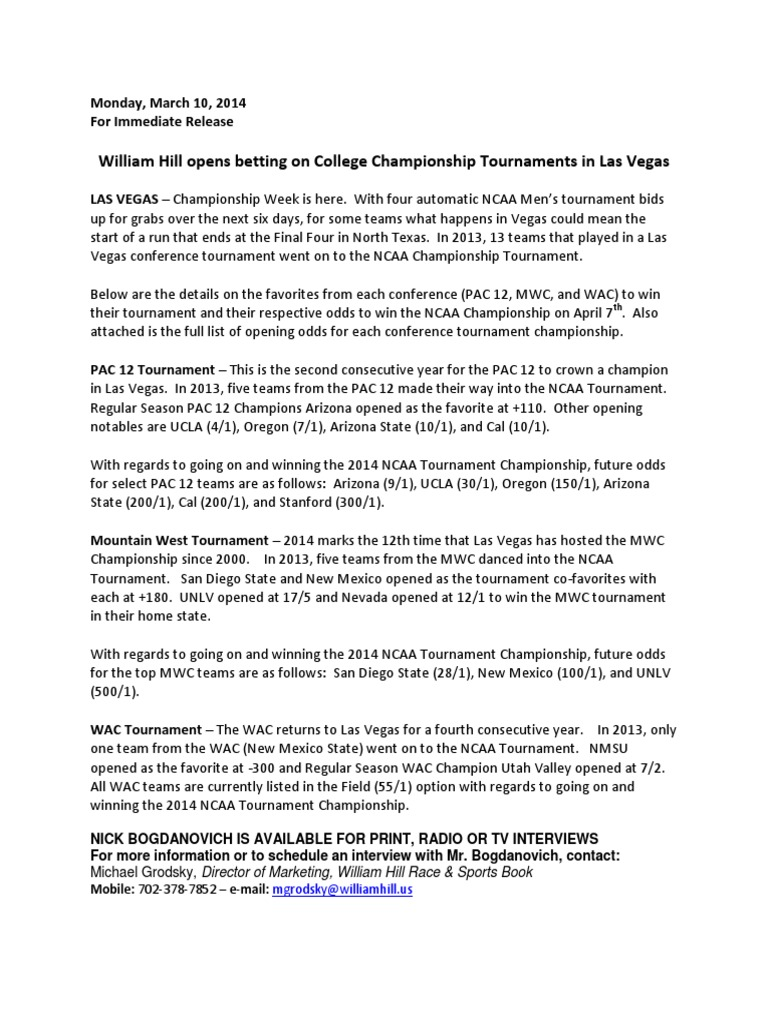 Conference basketball tournament odds - William Hill   Ncaa