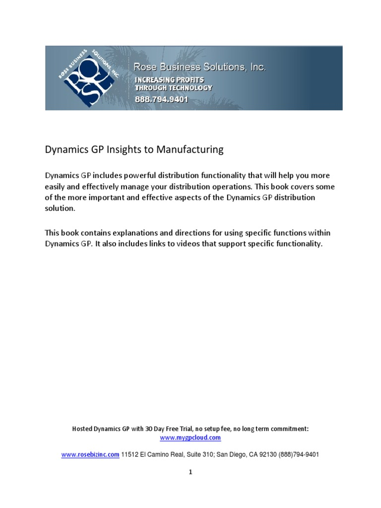Dynamics GP Insights to Manufacturing | Information
