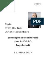 Prof. Dr. Ulrich Hackenberg Jahrespressekonferenz 2014