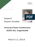 Rupert Stadler - Annual Press Conference 2014