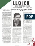 LLOIXA. Número 27, septiembre/setembre 1983. Butlletí informatiu de Sant Joan. Boletín informativo de Sant Joan. Autor