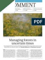 La gestión de los bosques en tiempos de incertidumbre