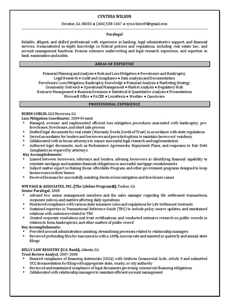 Paralegal Compliance Regulations Financial in Atlanta GA Resume Cynthia  Wilson | Loss Mitigation | Foreclosure