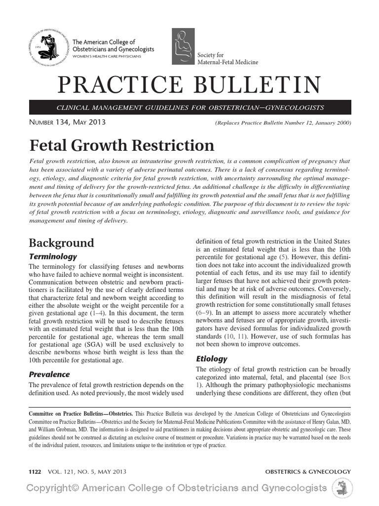 fetal growth restriction acog 2013 fetus prenatal development rh scribd com ACOG Standards ACOG Pap Smear Algorithm 2018