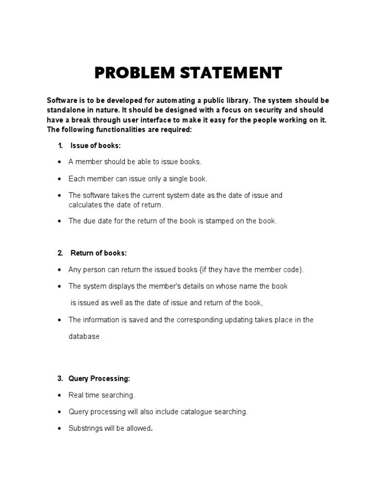 management problem statement