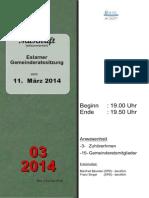 Eslarner Gemeinderatssitzungen - Mitschrift v. 11.03.2014