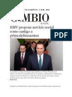 10-03-2014 Diario Matutino Cambio de Puebla - RMV propone servicio social como castigo a primodelincuentes.pdf