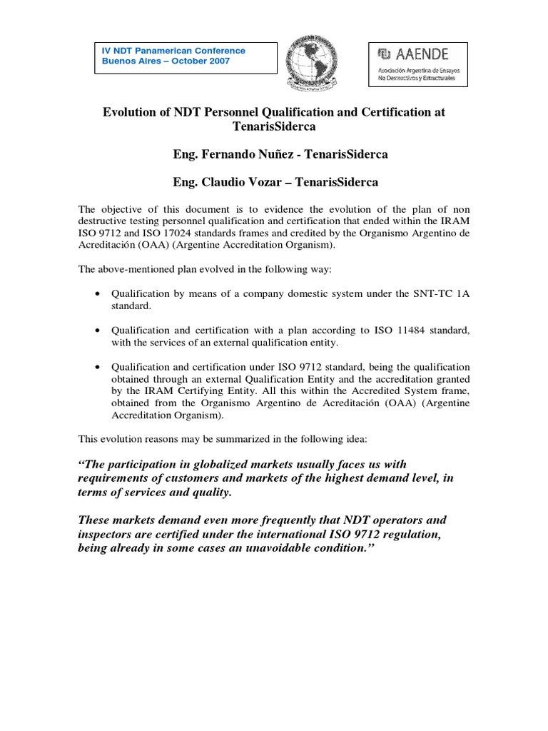 Evolution Of Ndt Personnel Qualification And Certification At