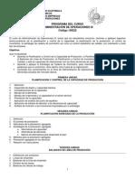 Programa Administración de Operaciones 3  2012