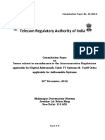 TRAI Consultation Paper on Issues Related to Amendments to the Interconnection Regulations Applicable for Digital Addressable Cable TV Systems, 20-12-12