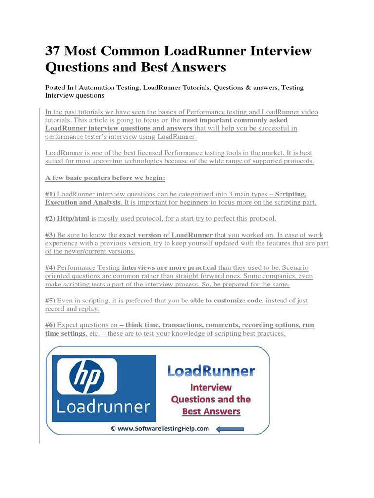 37 most common loadrunner interview questions and best answersdocx scripting language systems engineering - Most Common Interview Questions And Answers