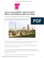 Intercontinental to Open Crowne Plaza Convention Centre in Oman