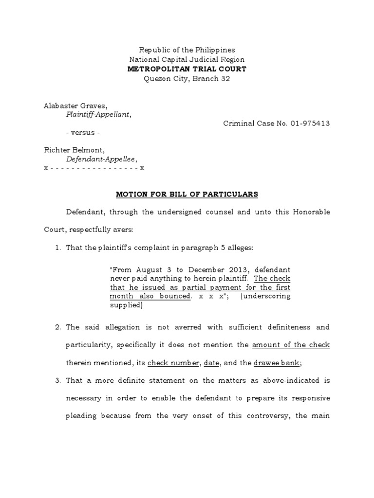 Motion of bill of particulars crimpro 2014 cheque pleading thecheapjerseys Images
