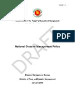 National Disaster Management Policy, Bangladesh