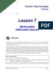 Calc Lesson 07 (Multivariable Diff Calc)
