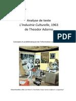 Analyse de texte L'Industrie Culturelle , 1963 de Theodor Adorno
