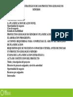 Planeamiento Estrategico de Los Proyectos Geologicos Mineros