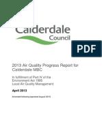 Calderdale Council Air Quality Progress Report April 2013 Updated Aug 2013 Following Appraisal