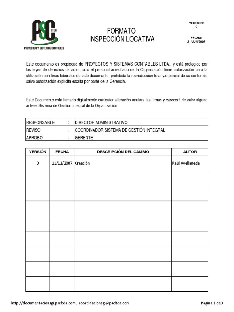 FORMATO INSPECCION LOCATIVA