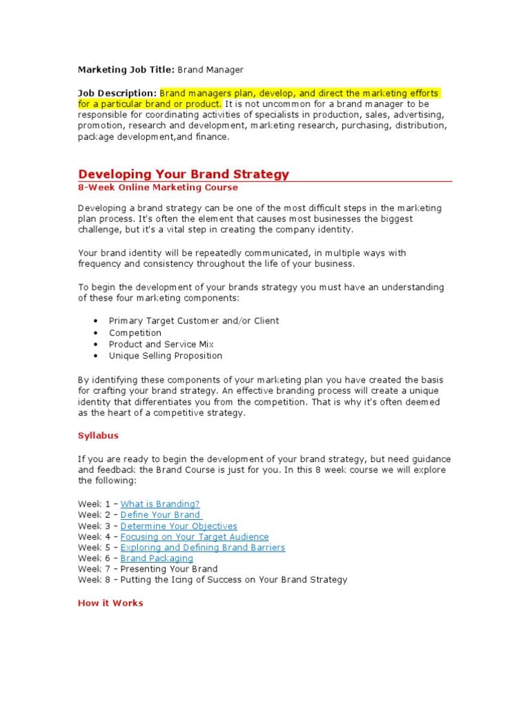 Brand Manager | Brand | Strategic Management