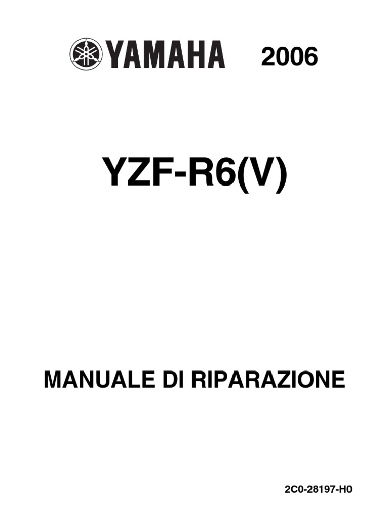 Yamaha YZF R6 Manuale Officina 2006 motore Italiano noPW