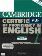 Cambridge Certificate of Proficiency in English 5 Self Study Pack Examination Papers From University of Cambridge ESOL Examinations (CPE)