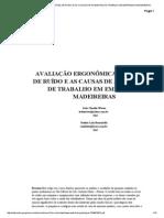 AVALIAÇÃO ERGONÔMICA DO NÍVEL DE RUÍDO E AS CAUSAS DE ACIDENTES DE TRABALHO EM EMPRESAS MADEIREIRAS
