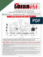 LLOIXA. Número 64 enero/gener, 1988. Butlletí Informatiu de Sant Joan. Boletín informativo de Sant Joan.  Autor