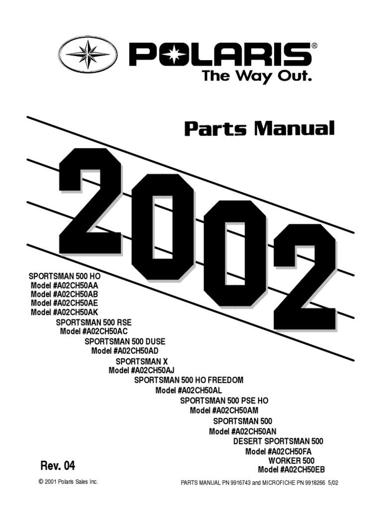 Sportsman 500 HO, RSE, DUSE, 2002 Parts Manual | Screw | Washer (Hardware)
