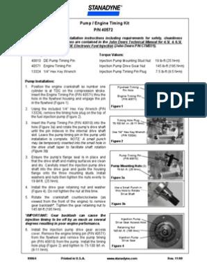 Stanadyne de Pump Timing Instructions | Nut (Hardware) | Pump