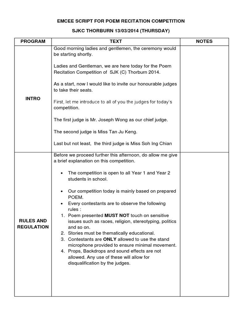 Emcee Script for Poem Recitation 2014